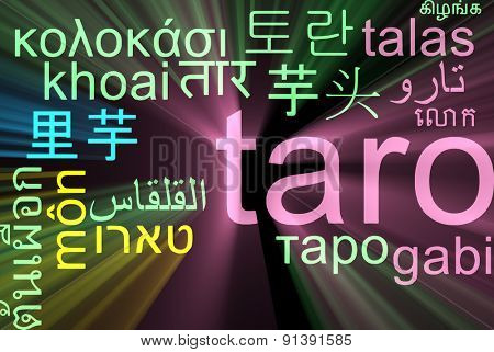 Background concept wordcloud multilanguage international many language illustration of taro glowing light