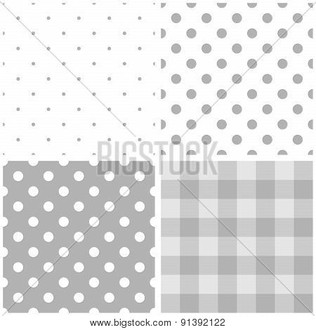 Tile baby grey and white vector pattern set with polka dots and checkered plaid
