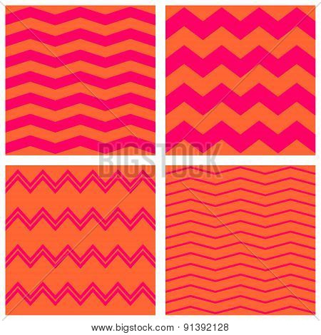 Tile neon vector pattern set with pink and orange zig zag
