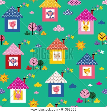baby animals in houses kids pattern