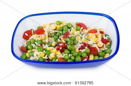 Vegetable Mix In Blue Bowl Isolated On White