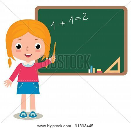 Child Girl Pupil At The School Board Isolated On White Background