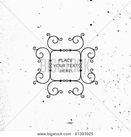 Vintage Frame for Luxury Logos, Restaurant, Hotel, Boutique or Business Identity. Royalty, Heraldic Design with Flourishes Elegant Design Elements. Vector Illustration Template. Concrete Wall Texture