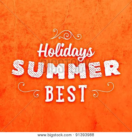 Summer Typographic Poster. Paper Texture Background.