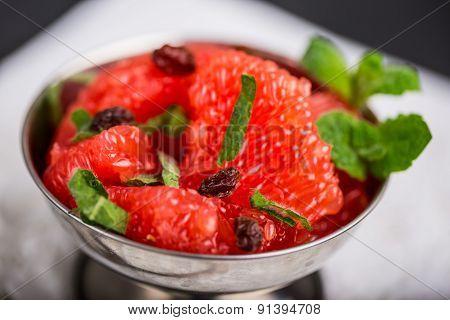 Grapefruit Salad With Raisins And Fresh Mint