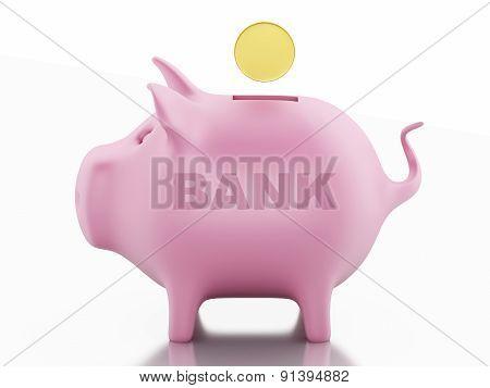 3d piggy bank with golden coins