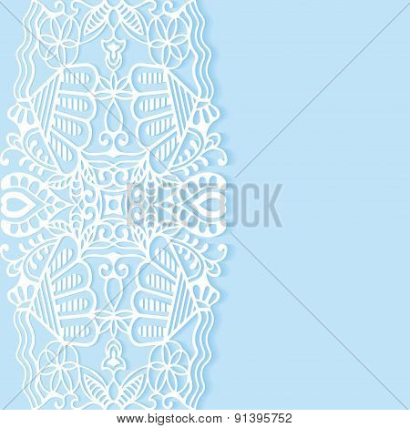 Wedding invitation or greeting card design with lace pattern, ornamental vector illustration