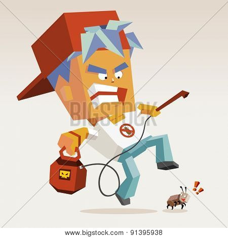 pest control with fogging killer.vector illustration