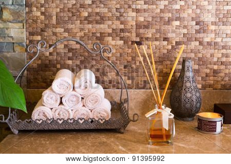 Concept Of Spa Essentials. Towels, Aroma, Candle. Spa Interior