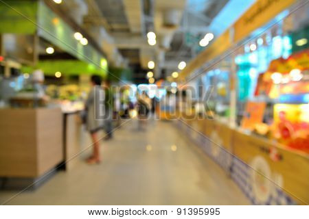 Food Court Store Blur Or Defocus Background With Bokeh