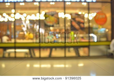 Blur Food Center At Shopping Mall And People With Bokeh For Background Usage