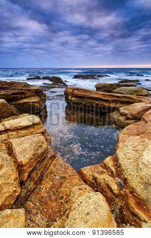 Twilight Seascape With Rocks