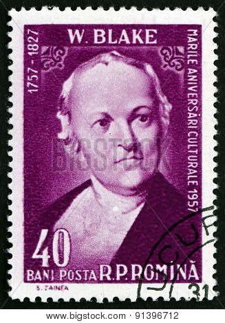 Postage Stamp Romania 1958 William Blake, English Poet
