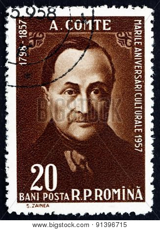 Postage Stamp Romania 1958 Auguste Comte, French Philosopher