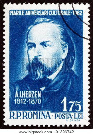 Postage Stamp Romania 1962 Alexander Ivanovich Herzen, Russian Writer
