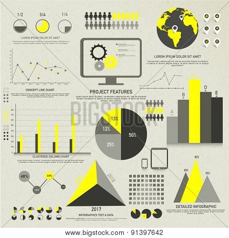 A big set of different infographic elements layout including statistical pie charts, triangels and graphs for your business data and reports presentaion.