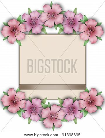 Flower Frame. Floral Border. Bouquet Of Pink Pastel Azalea With Paper