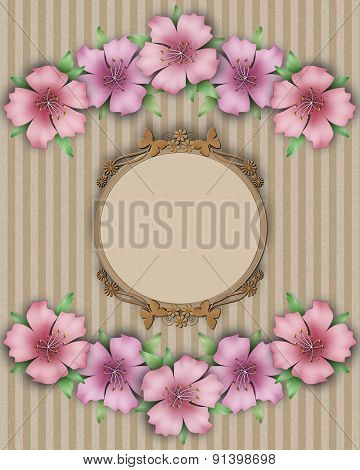 Flower Frame. Bouquet Of Pink Pastel Azalea Background