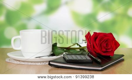 Table in cafe with cup