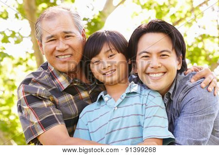Father, grandfather and son portrait