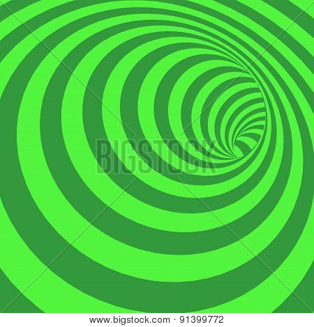 Green Spiral Striped Abstract Tunnel Background