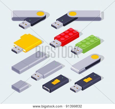 Isometric USB flash-drive