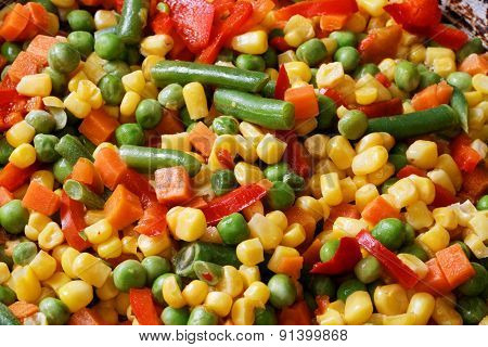 Closeup Fried Mixed Vegetables