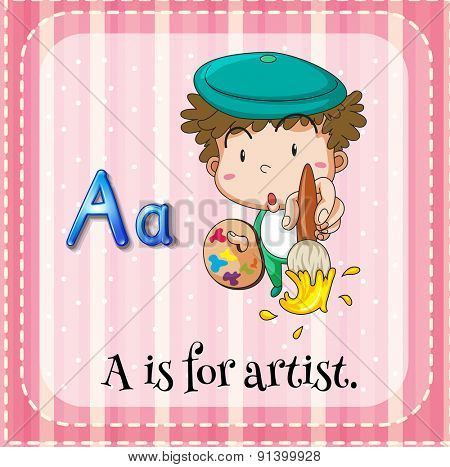 Flashcard letter A is for artist