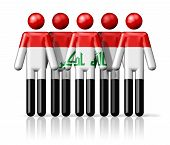 stock photo of iraq  - Flag of Iraq on stick figure  - JPG