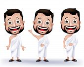 picture of muslim man  - Set of Realistic Muslim Man Characters Wearing Ihram Cloths for Performing Hajj or Umrah Pilgrimage in Makkah isolated in White Background - JPG