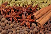 stock photo of cardamom  - Heap of different dry spices  - JPG