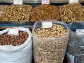 foto of cobnuts  - Athens Greece - April 06 2015: City Market. Stand with different kinds of nuts.