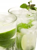 image of mojito  - Close up of Mojito cocktails isolated on white background - JPG
