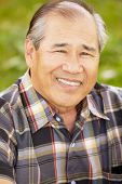 foto of hairline  - Portrait senior Asian man outdoors - JPG