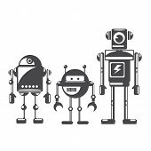 stock photo of cyborg  - Flat design style robots and cyborgs - JPG
