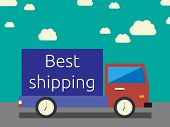 stock photo of lorries  - Best shipping concept fast and accurate - JPG
