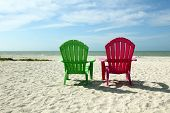 picture of gulf mexico  - Adirondack Beach Chairs with Ocean View of the Gulf of Mexico - JPG