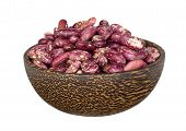 foto of kidney beans  - Kidney beans in wooden bowl isolated on white - JPG