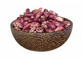 foto of kidney beans  - Kidney beans in wooden bowl isolated on white - JPG
