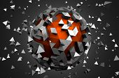 picture of fi  - Abstract 3d rendering of low poly sphere with chaotic structure - JPG