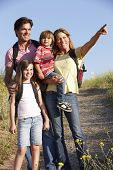 stock photo of 8-track  - Family on country walk - JPG