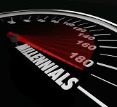 picture of speedometer  - Millennials word on a speedometer to illustrate youth - JPG