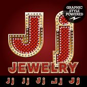 stock photo of letter j  - Vector luxury chic alphabet of gold and ruby letters - JPG