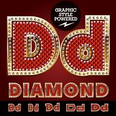 image of letter d  - Vector luxury chic alphabet of gold and ruby letters - JPG