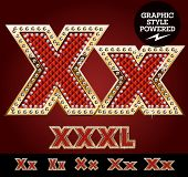 stock photo of letter x  - Vector luxury chic alphabet of gold and ruby letters - JPG