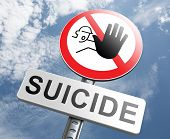stock photo of suicide  - suicide prevention campaign to help suicidal people - JPG