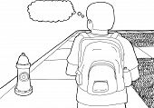 pic of knapsack  - Outline cartoon of student with backpack on sidewalk - JPG