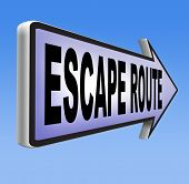 foto of safety barrier  - escape route avoid stress and break free running away to safety no rat race road sign 