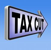 stock photo of reduce  - tax cut lower or reduce taxes paying less  - JPG