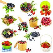 stock photo of blackberries  - A set of photos of strawberries - JPG